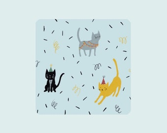 Party cats,  illustrated card, birthday party card