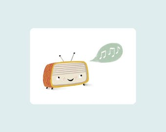 Happy sounds, illustrated card, postcard, for retro lovers