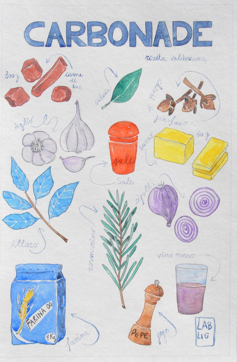 italian illustration, recipe illustration, recipe book, kitchen poster,  kitchen decor, restaurant poster, italian recipes, watercolor cloves