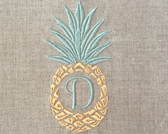 Personalized Embroidered Pineapple Tea Towel,Guest Towel, hand towel.  Hostess Gift, Welcome Gift.  Housewarming Gift.  Christmas Gift.