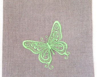 Embroidered Tea Towel or Guest Towel or Hand Towel.  Embroidered Butterfly.  Hostess Gift.  Home Decor. Custom Embroidery.