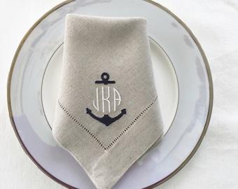 monogrammed napkins anchor embroidered table linens linen napkins cloth napkins wedding gift fine linens nautical decor