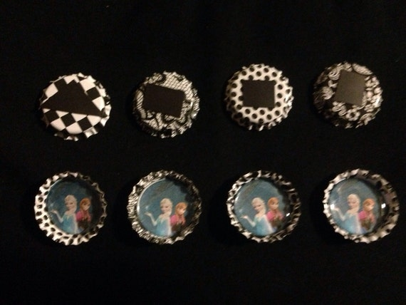 8 frozen bottle cap Ana and Elsa magnets great FE GIFT or Party Favor FRee shipping