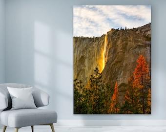 Yosemite Waterfalls Photo Print on Canvas - Landscape Canvas Print of Yosemite waterfall at Sunset - Yosemite National Park Canvas Wall Art