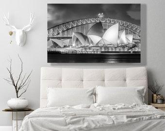 Sydney Opera House Black and White Print - Sydney Australia Harbor Bridge Photo - Landscape Art Print Sydney Australia in Black and White