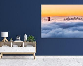 San Francisco Bay Romantic Sunrise Photo Print - Beautiful Golden Gate Bridge Art Landscape Photograph in Soft, Classic, Romantic Fog