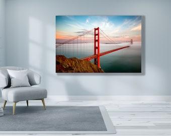 Golden Gate Bridge Print in Beautiful San Francisco Fog at Sunset - Bay Area Art Sunset Photo - California Home Art and Decor - Bridge Fog
