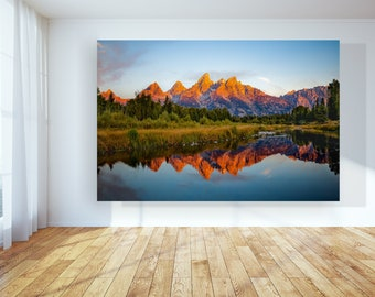 Grand Teton National Park Large Wall Art, Sunrise Mountain Photo, Wyoming Mountains Photo Print Art, National Park Print, Mountain Poster