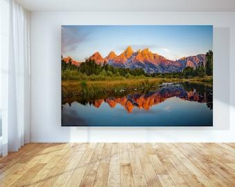 Canvas Print Grand Teton National Park Large Wall Art Canvas, Sunrise Mountain Photo, Canvas Mountains Photo, National Park Print on Canvas