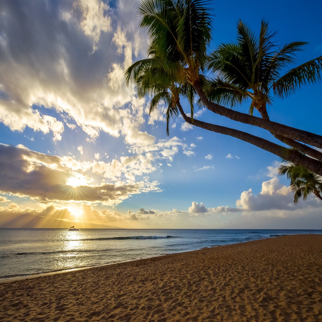 Maui Hawaii Beaches: Maui Hawaii Sunset Photo Beautiful Paradise Beach