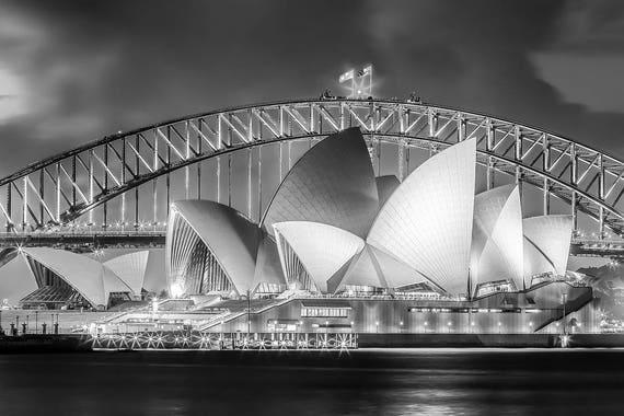 Sydney Opera House Black And White Print Sydney Australia Harbor Bridge Photo Landscape Art Print Sydney Australia In Black And White