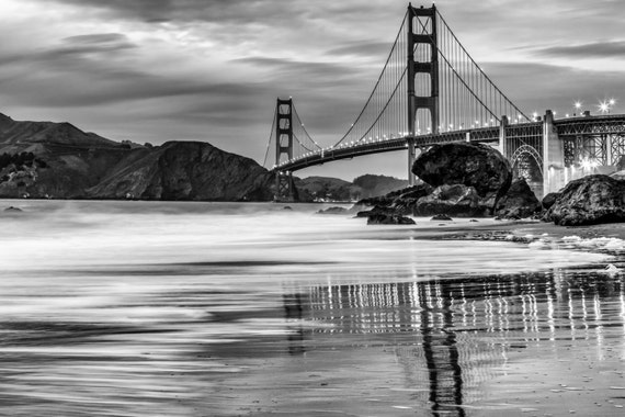 Black And White Golden Gate Bridge Print San Francisco Suspension Bridge Reflection On California Beach B W Photography Home Decor Art