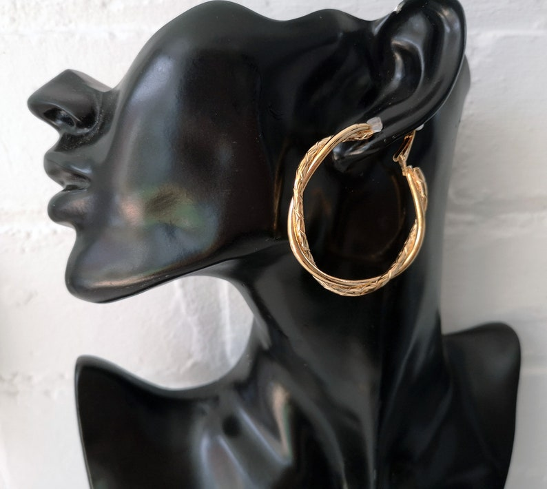 5.5cm large GOLD tone chunky twisted design CLIP ON hoop earrings   #EB