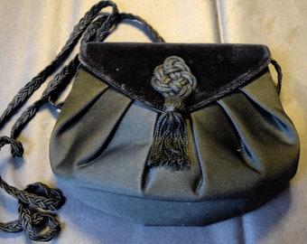 Givenchy Paris leather silk and velvet handbag, designer purse, black  evening bag Givenchy with paperwork 85e3849439