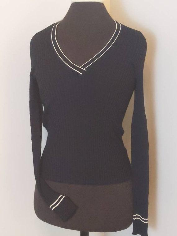 Size 46 PRADA 1990s black long sleeve V-neck shir… - image 6