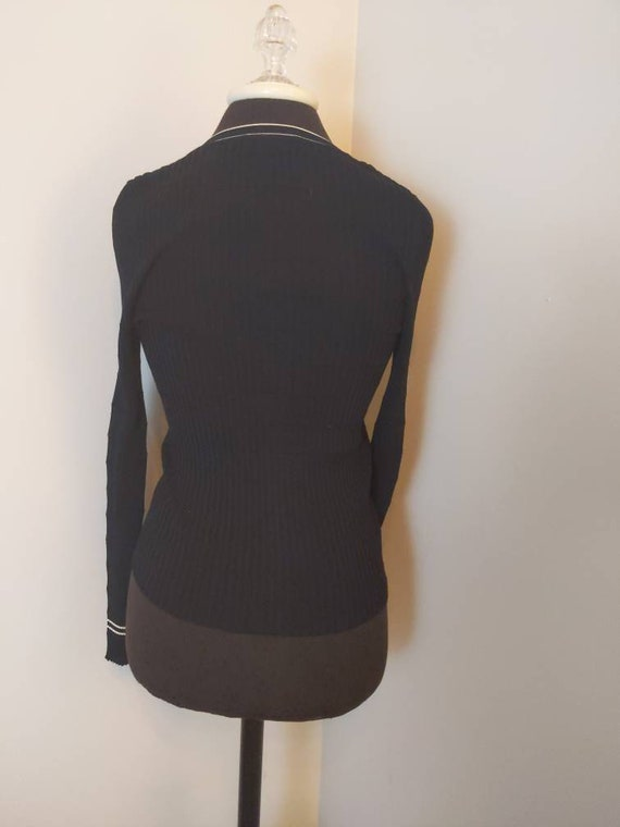 Size 46 PRADA 1990s black long sleeve V-neck shir… - image 7