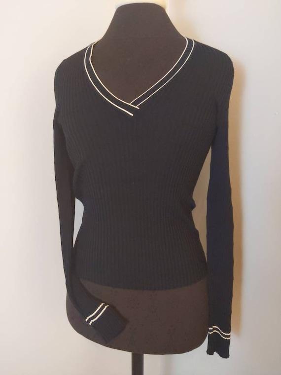 Size 46 PRADA 1990s black long sleeve V-neck shir… - image 3