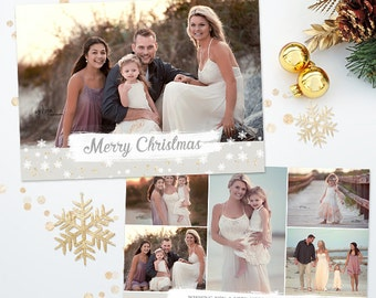 Holiday Christmas Card Template for Photographers - 5x7 Photo Card - Photoshop Template - 039 - C318, INSTANT DOWNLOAD