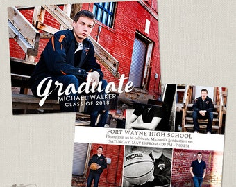 Senior Graduation Announcement Template for Photographers - 5x7 Flat Photo Card 014, INSTANT DOWNLOAD