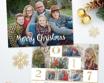 Christmas Card Template - Holiday Photo card - 5x7 Flat Card - Photoshop Template - 042, INSTANT DOWNLOAD
