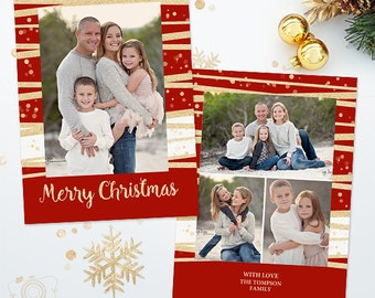 Holiday Christmas Card Template for Photographers - 5x7 Photo Card 032 - C309, INSTANT DOWNLOAD
