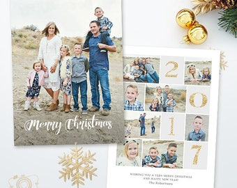 Christmas Card Template - Holiday Photo card - 5x7 Flat Card - Photoshop Template - 043, INSTANT DOWNLOAD