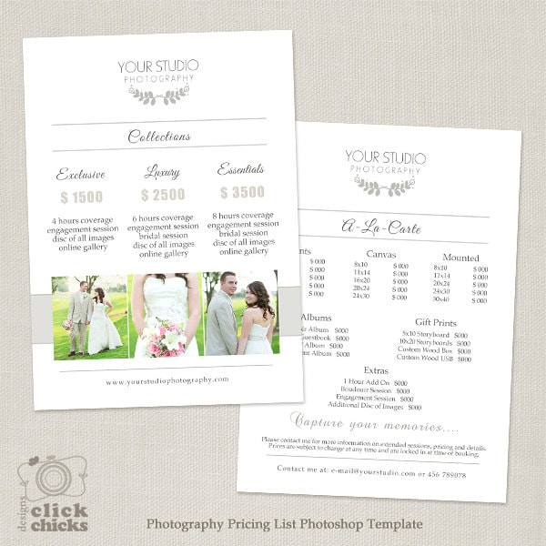 Wedding Photography Pricing List Template Photography Etsy