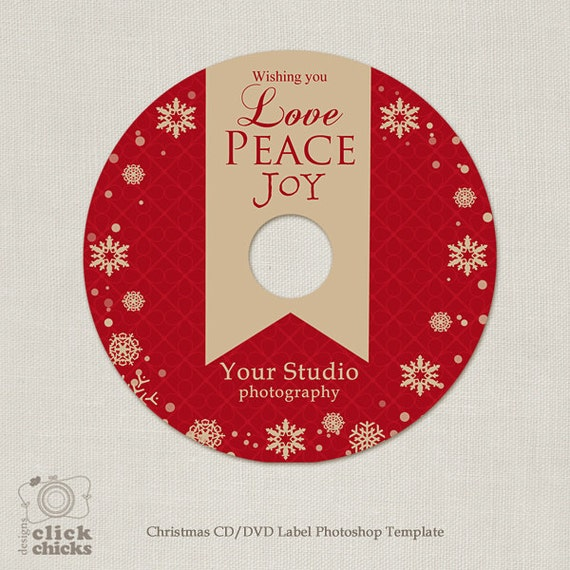 christmas cd dvd label template c125 instant download etsy