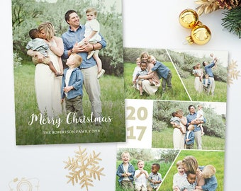 Christmas Card Template - Holiday Photo card - 5x7 Flat Card - Photoshop Template - 044, INSTANT DOWNLOAD