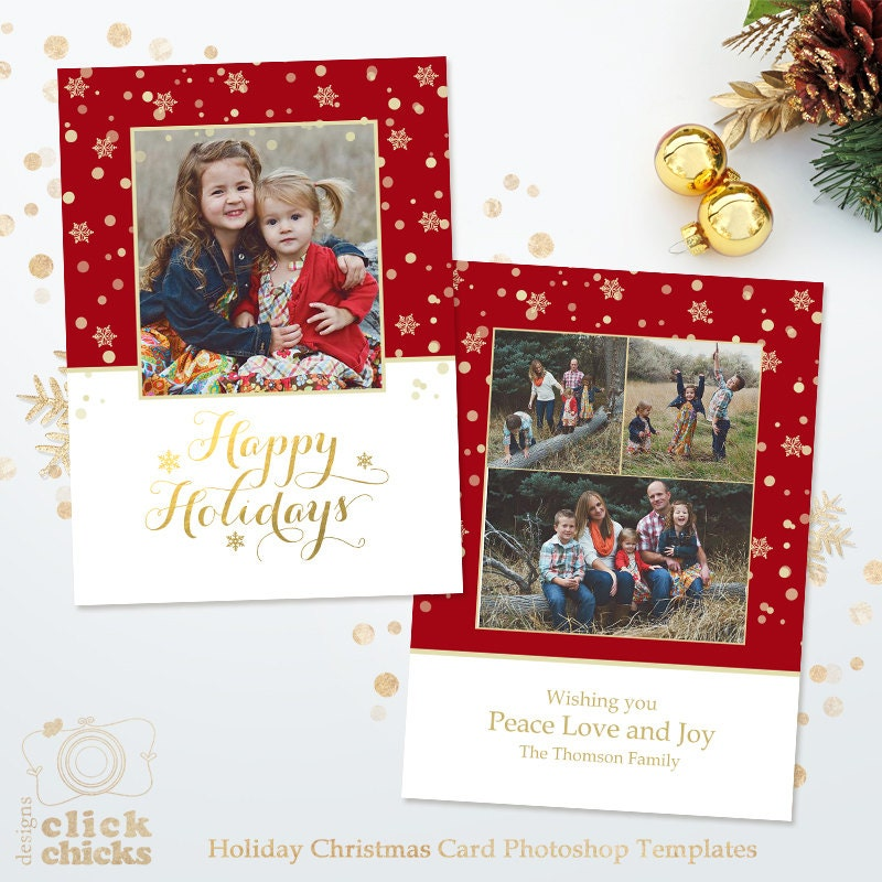 Holiday Card Template for Photographers Christmas Photoshop | Etsy