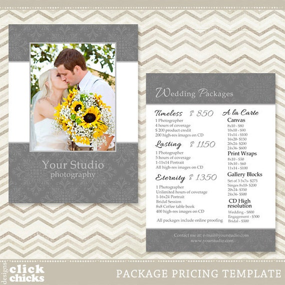 Photography Package Pricing List Template Wedding Price List Etsy