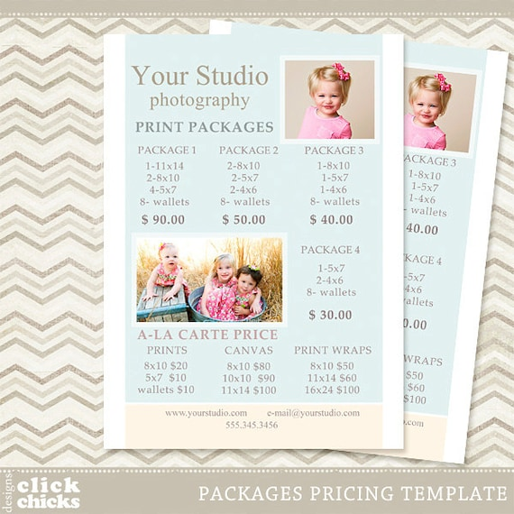 photography print package pricing list template portrait etsy