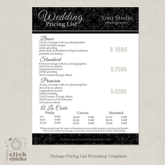 Photography Package Pricing List Template Wedding