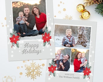 Holiday Christmas Card Template for Photographers - 5x7 Photo Card 036 - C315, INSTANT DOWNLOAD