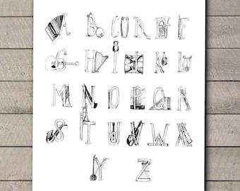 Music Nursery - Music Nursery Decor - Gender Neutral Nursery Art - Music Teacher Gift - Play Room Art - Music ABC Art - Music Alphabet Art