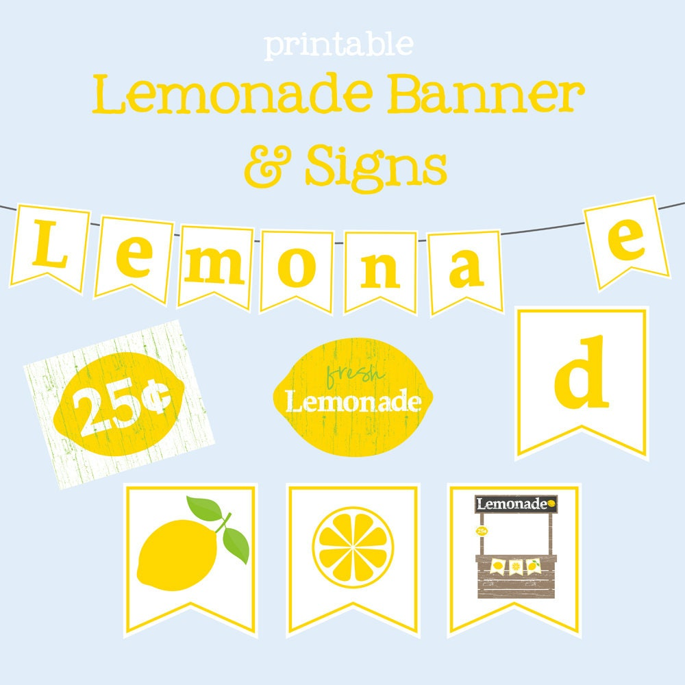 photograph about Lemonade Signs Printable identify Printable Lemonade Banner Lemonade Stand Lemon Banner Fast Down load