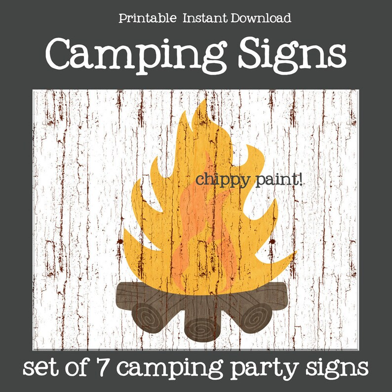 photograph relating to Printable Camping Signs referred to as Tenting Signs or symptoms Printable Instantaneous Obtain Painted Tenting Occasion Decor Tent, Marshamallows, Video clip Popcorn Bonfire Ice Pop Indicators