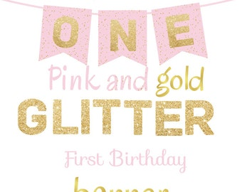 ONE High Chair First Birthday Banner Pink and Gold Printable