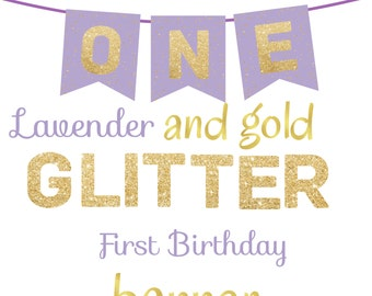 ONE High Chair First Birthday Banner Lavender and Gold Printable