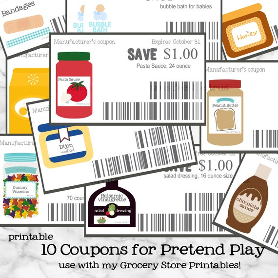 Grocery Store Printables Pretend Play Coupons Printable Etsy