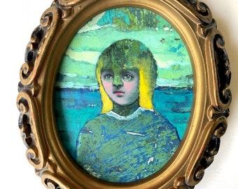 Tiny Original Painting, small space room decor, miniature art, expressionist portrait, whimsical art portrait, surreal art, blue room accent