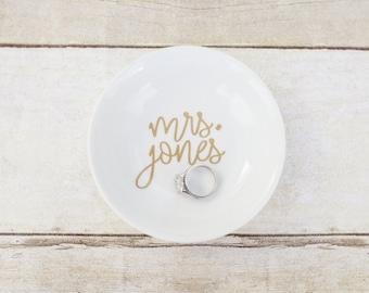 Custom Wedding Bridal Ring Dish - Circle
