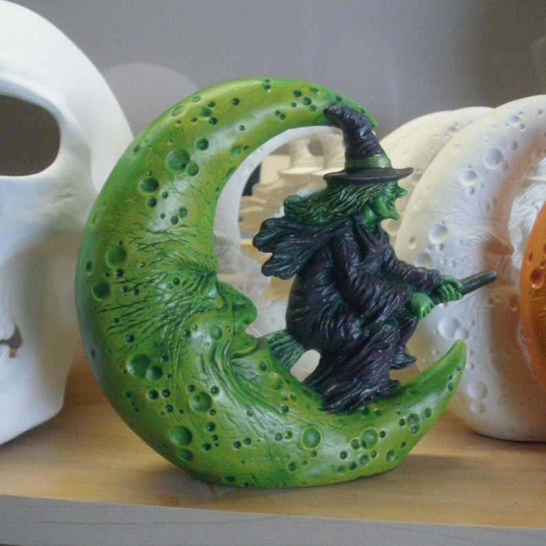 Ceramic Halloween witch flying witch gifts for her Halloween decorations  hanging witch moon Outdoor Halloween decor Ceramic witch green