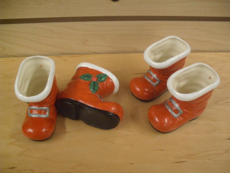 Ceramic Santa Boot ornaments candy cups Vintage style Santa boots gifts for her Christmas decorations Santa boots Red Santa boot ornaments