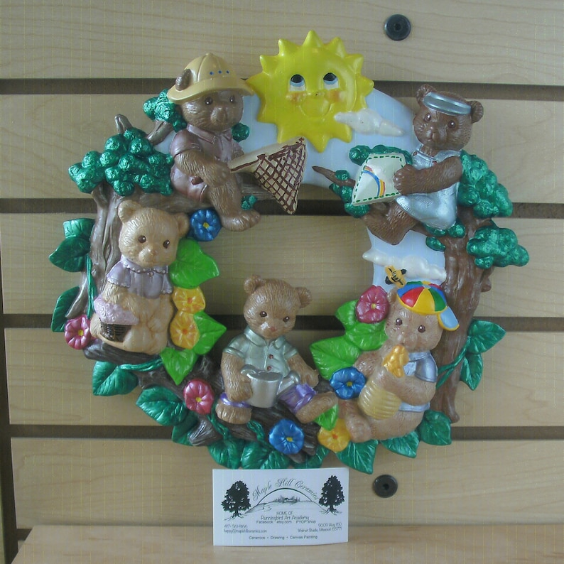 New babys room teddy bear spring wreath wall patio decor ceramic bisque wall plaque Gifts for her teddy bear springtime wreath Ceramic