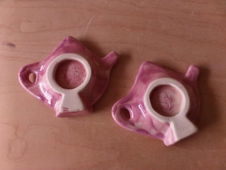 Two pink and white marbleized teapot teabag holders pink kitchen decor teapot decor women/'s gifts for her tea set