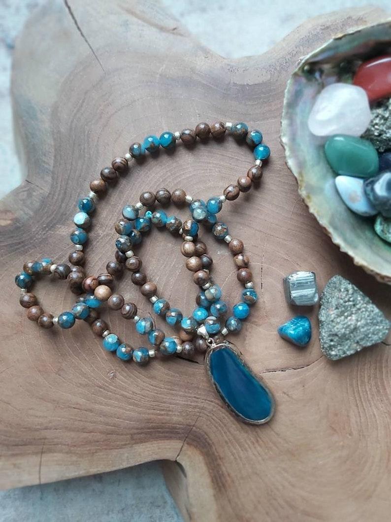 Mosaic Quartz Stone Mala Teal Blue Agate Slice Pendant Beaded Necklace Spiritual Meditation Jewelry Wooden Bead Healing Mala Necklace