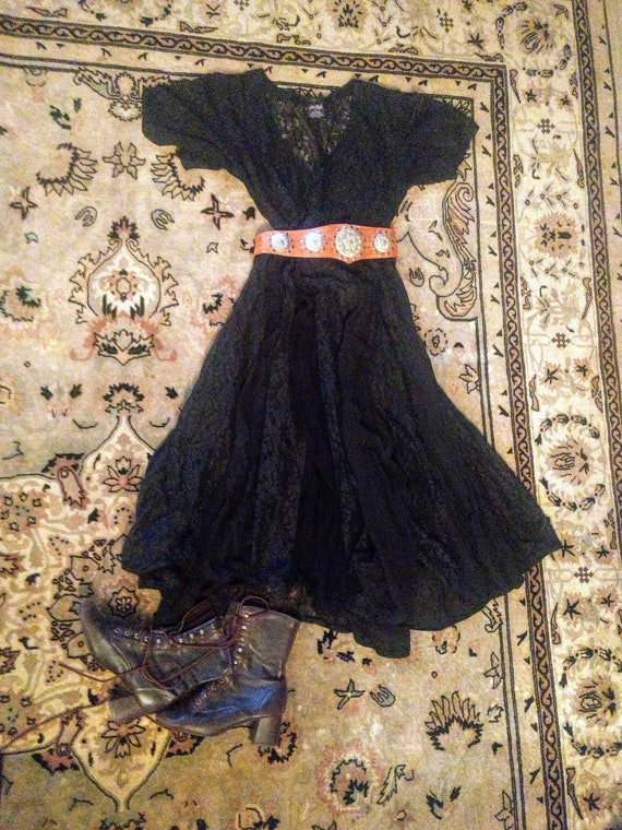 Gauze & Lace Dress, Black Vintage, Made in India,