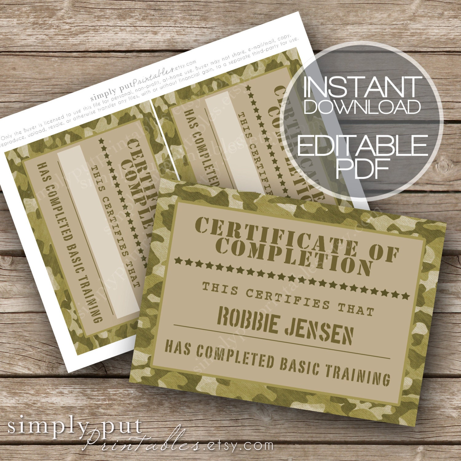 Army Camo Certificate Of Completion Printable Editable Basic Etsy
