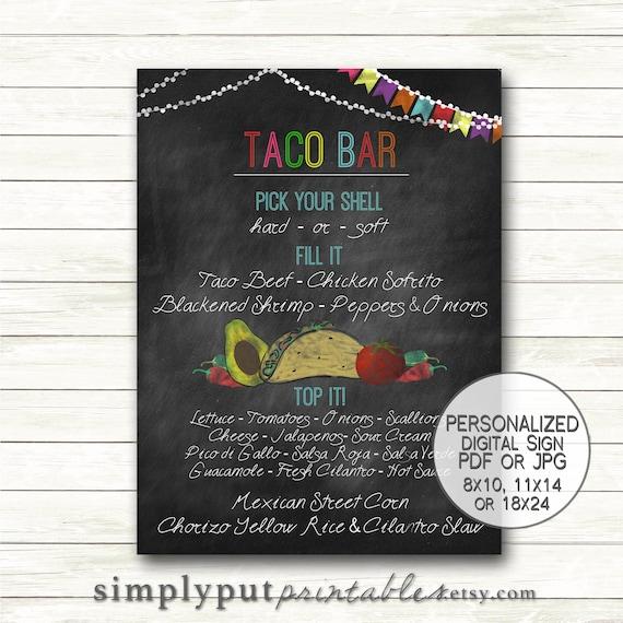 Taco Bar Menu Sign Printable Fiesta Chalkboard Cinco De Mayo Etsy